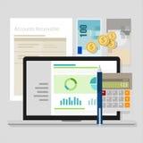 Компьтер-книжка применения калькулятора денег бухгалтерской системы счета дебиторов иллюстрация вектора