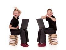 компьтер-книжка ребенка представляет различных детенышей Стоковые Изображения RF