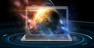 Компьтер-книжка с виртуальным hologram планеты и космоса Стоковое фото RF