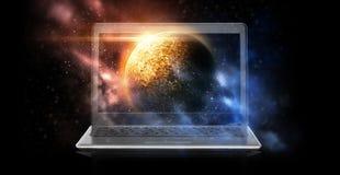 Компьтер-книжка с виртуальным hologram планеты и космоса Стоковое Изображение