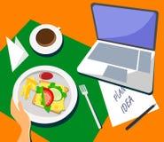 Компьтер-книжка с завтраком и чашкой кофе на таблице в плоском дизайне Произведите идеи и планы везде и в любое время иллюстрация штока