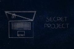 Компьтер-книжка с замком и цепь рядом с секретным титром проекта иллюстрация вектора