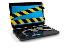 Компьтер-книжка с наручниками Стоковая Фотография RF