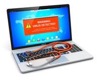 Компьтер-книжка с предупредительным сообщением нападения вируса на экране и stethosco иллюстрация штока