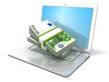 Компьтер-книжка с стогами евро сотен 3D перевод - концепция онлайн дела - заработок, банк и покупки иллюстрация штока