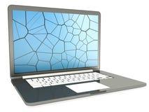 Компьтер-книжка с треснутым экраном на белизне Стоковая Фотография RF