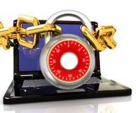 Компьтер-книжка с цепями и иллюстрация lock.3d на белой предпосылке. Стоковое фото RF