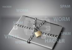 Компьтер-книжка с цепями и padlock на серой предпосылке Стоковые Изображения