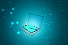 Компьтер-книжка с электронной почтой Стоковое Изображение RF
