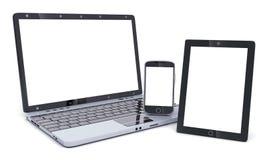 Компьтер-книжка, телефон и PDA опорожняют экран Стоковое Фото