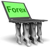 Компьтер-книжка характеров валют показывает Fx или торговую операцию иностранной валюты Стоковые Изображения RF