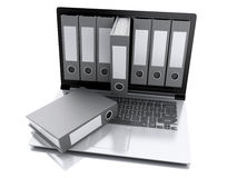 компьтер-книжка 3d и файлы Белая предпосылка Стоковые Изображения RF