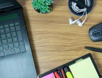 Компьтер-книжка Omputer мышь кактуса ручка и наушник Стоковое Изображение RF