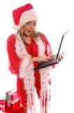 компьтер-книжка santa рождества Стоковые Изображения