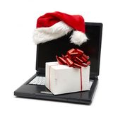 компьтер-книжка santa шлема Стоковое Изображение RF