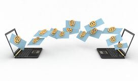 Компьтер-книжки с входящими письмами через электронную почту Стоковое фото RF