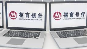 Компьтер-книжки с логотипом банка купцев Китая на экране Зажим передовицы 4K компьютерной технологии схематический, безшовная пет бесплатная иллюстрация
