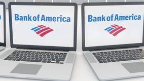 Компьтер-книжки с логотипом Государственного банка Америки на экране Зажим передовицы 4K компьютерной технологии схематический, б иллюстрация вектора