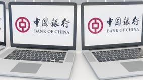 Компьтер-книжки с логотипом Государственного банка Китая на экране Зажим передовицы 4K компьютерной технологии схематический, без иллюстрация вектора