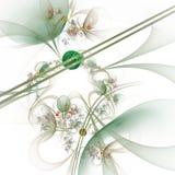 Компьютерная графика: Мраморы на линиях и кривые с цветками стоковое изображение rf