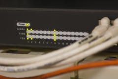 Компьютерная сеть информационной технологии, кабели ethernet радиосвязи Стоковое Изображение RF