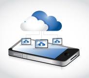 Компьютерная сеть телефона и облака вычисляя. Стоковые Изображения