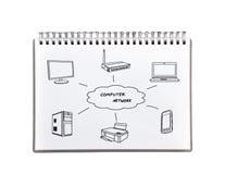 Компьютерная сеть чертежа Стоковое Фото
