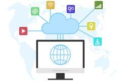 Компьютерная технология облака, компьютерное обслуживание облака Технологии интернета информационной памяти Стоковое Изображение