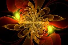 Компьютерная фракталь с цветком стоковое изображение rf