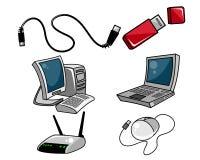 Компьютерное оборудование на белой предпосылке Стоковое Изображение RF