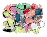 Компьютерное оборудование на покрашенной предпосылке Стоковая Фотография