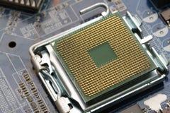 Компьютерное оборудование, материнская плата с микропроцессором стоковое фото