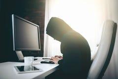 Компьютерный хакер крадя информацию от сети стоковое изображение