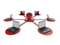 6 компьютерных сетей портативного компьютера Стоковая Фотография RF