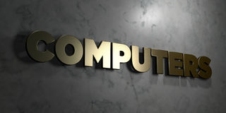 Компьютеры - знак золота установленный на лоснистой мраморной стене - 3D представили иллюстрацию неизрасходованного запаса короле иллюстрация штока
