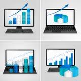 Компьютеры и компьтер-книжки с финансовыми диаграммами и диаграммами Стоковое Изображение