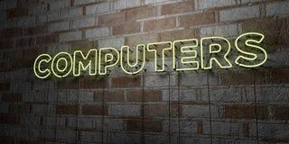КОМПЬЮТЕРЫ - Накаляя неоновая вывеска на стене каменной кладки - 3D представило иллюстрацию неизрасходованного запаса королевской иллюстрация вектора