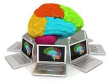 Компьютеры соединенные к центральному мозгу иллюстрация штока