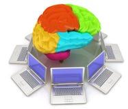 Компьютеры соединенные к центральному мозгу иллюстрация вектора