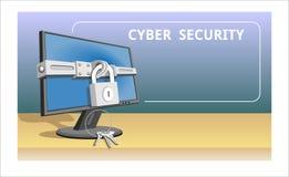 Компьютер безопасностью кибер общей защиты данных регулированный и монитором уединения kGeneral иллюстрация вектора