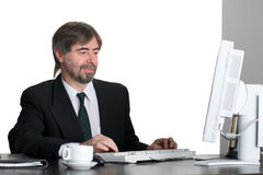 компьютер бизнесмена успешный Стоковые Фото