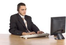 компьютер бизнесмена стоковые фото