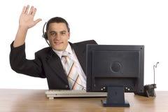 компьютер бизнесмена Стоковые Изображения