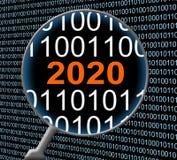 Компьютер две тысячи 20 данных 2020 Новых Годов и Communicatio Стоковые Фотографии RF