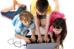 компьютер детей Стоковое Изображение RF