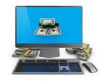 Компьютер и доллары иллюстрация вектора