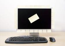 Компьютер и липкие примечания Стоковое Изображение