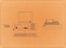 Компьютер и принтер - ретро светокопия Стоковые Фотографии RF