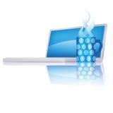 Компьютер, кофейная чашка и перерыв на чашку кофе Стоковое Фото