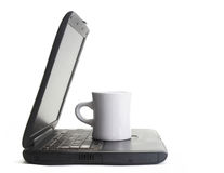 компьютер кофе стоковые изображения rf